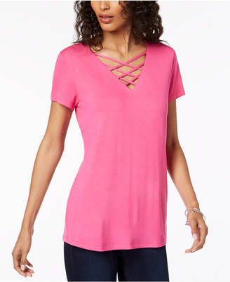 INC International Concepts I.N.C. Lattice-Neck Top, Created for Macy's
