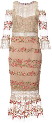 embroidery and lace midi dress