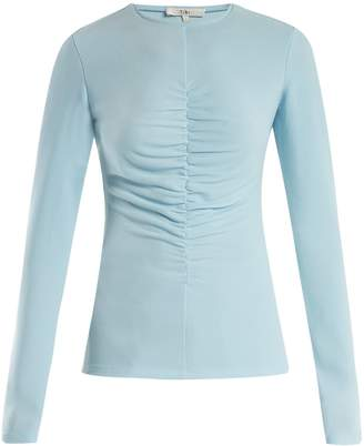 Tibi Ruched-front stretch-crepe top