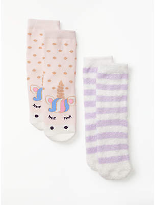 John Lewis & Partners Girls' Unicorn Slipper Socks, Pack of 2, Pink
