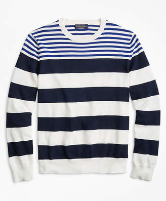 Brooks Brothers Supima Cotton Multi-Stripe Crewneck Sweater