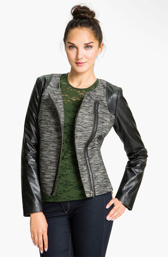 Trouve Faux Leather Sleeve Tweed Jacket