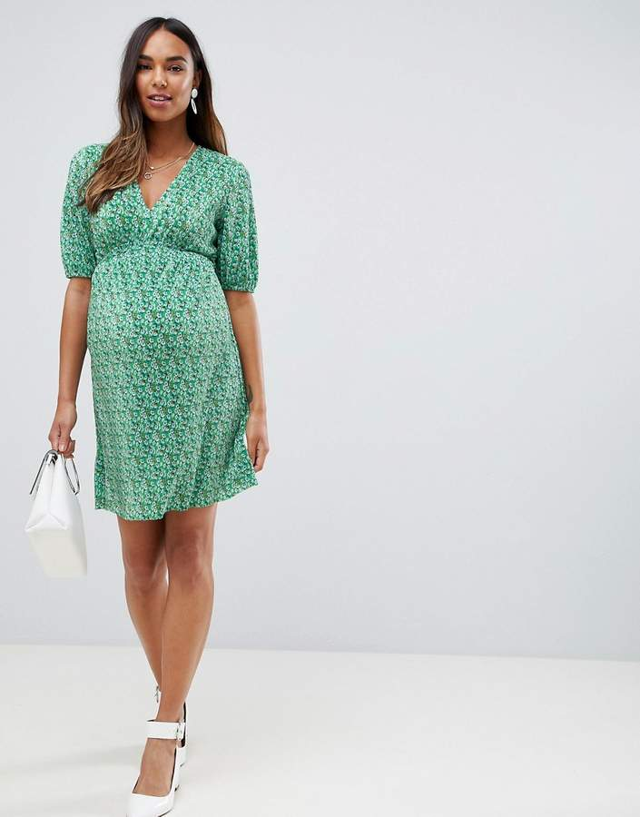 ASOS Maternity ASOS DESIGN Maternity mini ditsy print plisse dress with shirred waist