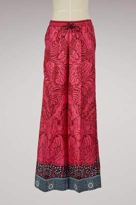 Mary Katrantzou Tarot Silk Wide Leg Pants