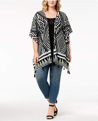 Say What Trendy Plus Size Printed Tasseled Kimono
