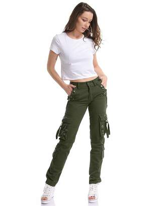 3.1 Phillip Lim Gooket Women's Cotton Casual Straight Leg Active Loose Fit Multi Pockets Cargo Pants Red Tag 32-US