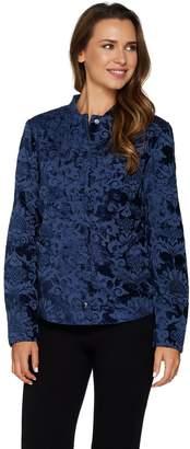 Isaac Mizrahi Live! Velvet Scroll Jacquard Snap Front Jacket