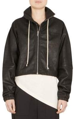 Rick Owens Leather Windbreaker Cropped Jacket