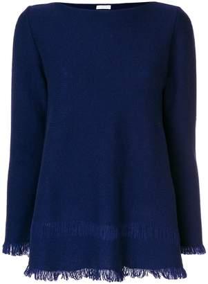 Asolo Borgo cashmere flared fringe hem sweater