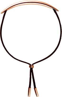 Shaun Leane Quill rose gold vermeil and leather bracelet, gold