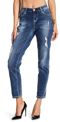 Seven7 Distressed Sequined Roll Cuff Girlfriend Jeans