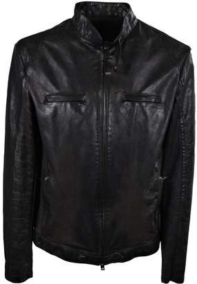 Salvatore Santoro Buttoned Collar Leather Jacket