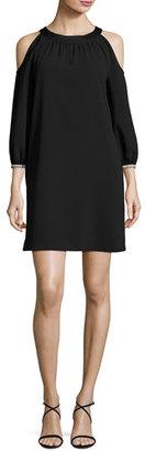 Trina Turk Sicily Crepe Cold-Shoulder Shift Dress, Black $298 thestylecure.com