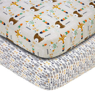 NoJo Little Love by 2-Pc. Arrow & Animal-Print Fitted Crib Sheet Set Bedding