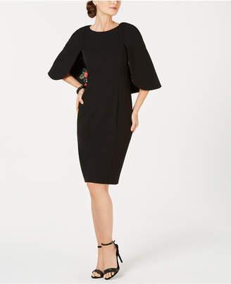 Adrianna Papell Cape-Sleeve Shift Dress