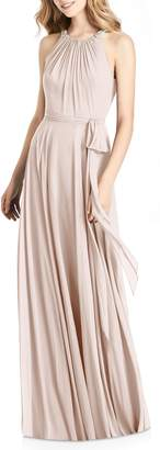 Jenny Packham Beaded Strap Chiffon Gown