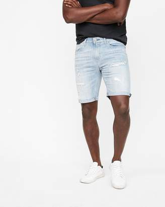 Express Slim 9 Inch Destroyed Denim Shorts