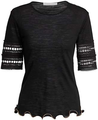 c5c277f4cd0 See by Chloe Crochet-Sleeve Wool-Blend Tee