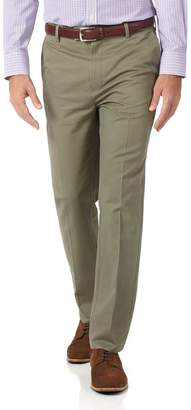 Charles Tyrwhitt Olive Slim Fit Flat Front Non-Iron Cotton Chino Pants Size W32 L32