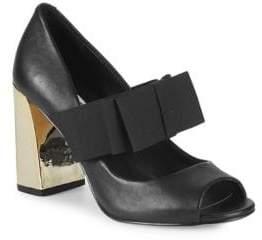 Block Heel Peep Toe Pumps