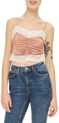 Women's Topshop Ruched Satin & Lace Camisole $35 thestylecure.com