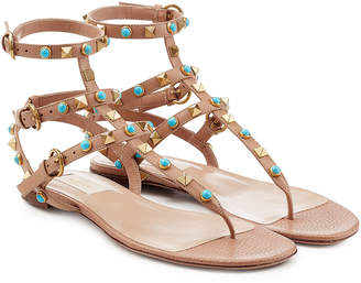 Valentino Rolling Rockstud Embellished Leather Sandals