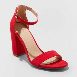 A New Day Women's Ema Microsuede High Block Heel Sandal Pumps Red