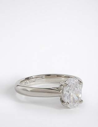 Marks and Spencer Platinum Plated Diamanté Oval Cut Ring