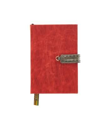 Okapi Journal / Scarlet Red Zebra Blesbok Ostrich Shin, Gold Hardware