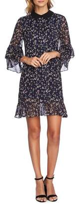 CeCe Festive Metallic Stripe Floral Ruffle Dress