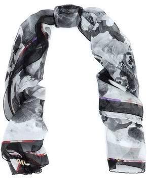 Roberto Cavalli Embellished Printed Silk-Chiffon Scarf