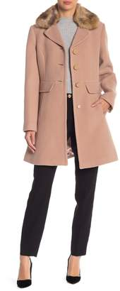 Kate Spade Removable Faux Fur Collar Wool Blend Coat