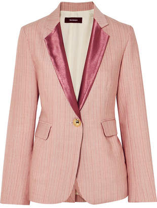 Sies Marjan - Kaia Satin-trimmed Striped Wool-blend Blazer - Red
