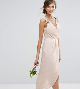TFNC Tall Tall Wedding Wrap Midi Dress With Embellishment