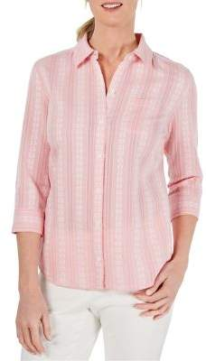 Karen Scott Petite Printed Button-Down Shirt
