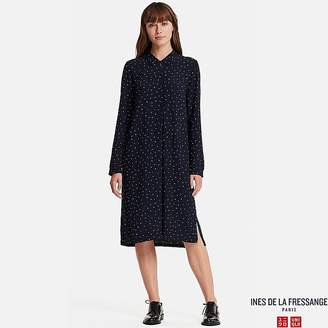 Uniqlo Women's Georgette Long-sleeve Shirt Dress (ines De La Fressange)