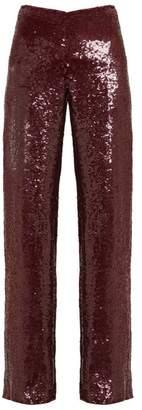 Ashish Sequinned High Rise Trousers - Womens - Burgundy