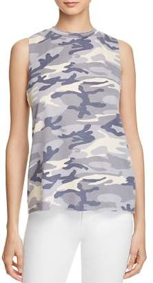 Vintage Havana Striped-Trim Camo Tank