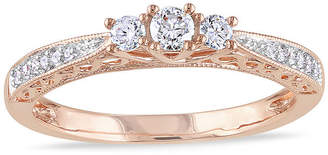 JCPenney MODERN BRIDE 1/4 CT. T.W. Diamond 10K Rose Gold Vintage-Style 3-Stone Promise Ring