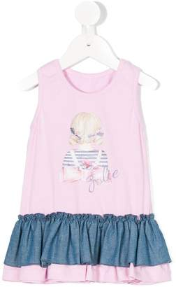 Lapin House girl print flared dress