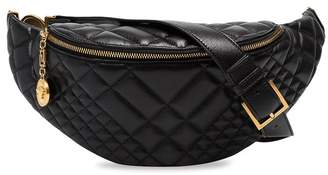 Versace black quilted leather belt bag