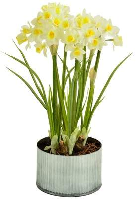 Picnic at Ascot Artificial Daffodils Flower in Planter