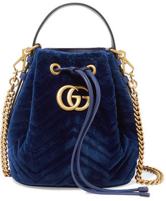 Gucci Gg Marmont Leather-trimmed Quilted Velvet Bucket Bag - Blue