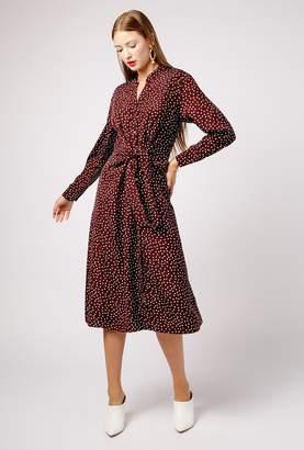 Azalea Polka Dot LS Midi Tie Front Dress