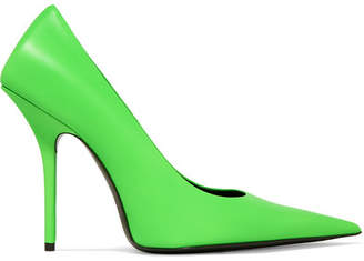 7615041857e Balenciaga Square Knife Neon Leather Pumps - Lime green