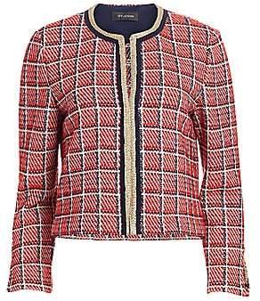 St. John Women's Metallic Plaid Knit Cropped Jacket