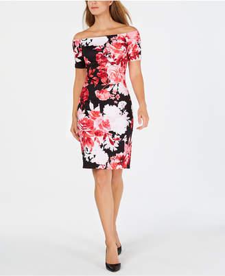 Calvin Klein Off-The-Shoulder Floral Scuba Dress