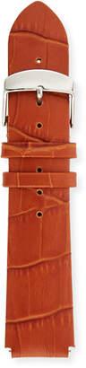 Philip Stein Teslar 20mm Alligator-Embossed Leather Watch Strap, Brown
