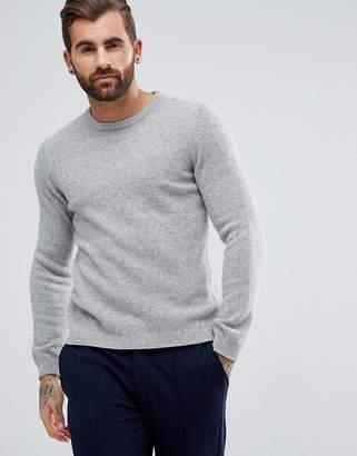 Asos Design Lambswool Jumper In Light Grey