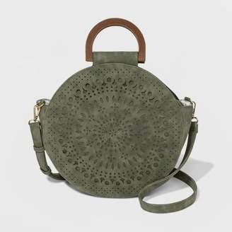 VR NYC Laser Cut Handle Circle Tote Handbag - Moss